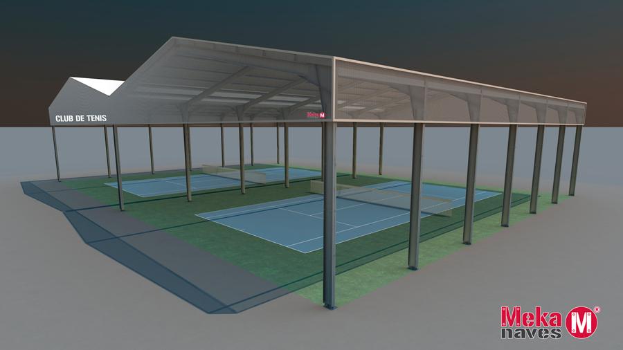 Cubrir pistas de tenis con estructura semiabierta metálica. Mekanaves