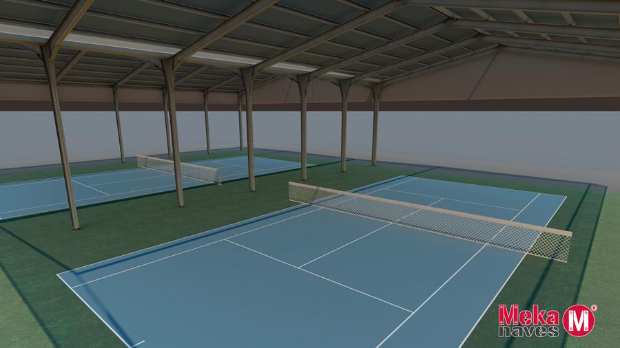 Cómo cubrir una pista de tenis con cubierta metálica económica. Mekanaves.