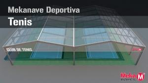 Cubierta de naves deportivas para pistas de tenis, estructura metálica galvanizada y atornillada. Mekanaves