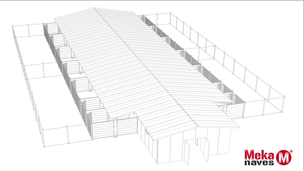 Diseño 3D Residencia Canina con parque de recreo